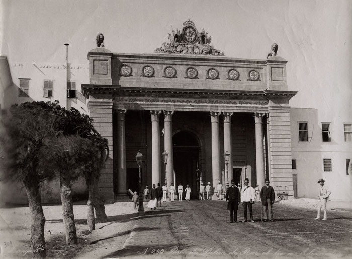gate of royal palace, Alexandria, 1880s, Zangaki photo