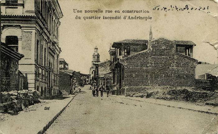 Ottoman times, aftermath of a fire, with the fire observation tower visible in the distance