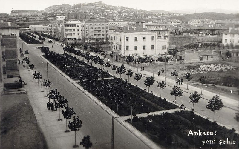 Ankara Ataturk Boulevard, the major artery of the capital leading from Ulus to Cinnah caddesi, today lined with the buildings of ministries and embassies, 1930s