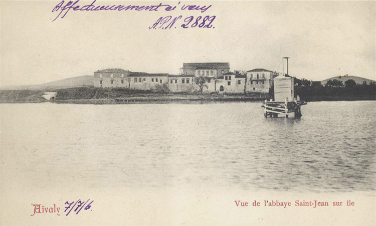 An abbey on an island off-shore Ayvalik as viewed in 1906