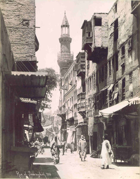 Rue Souroughieh, Cairo 1890s, photographed by J.P. Sebah