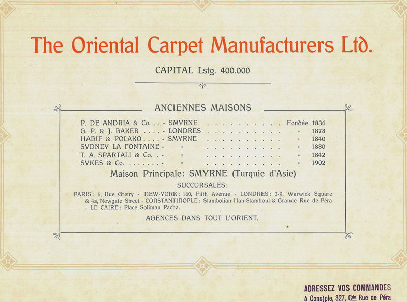 Oriental Carpet Manufacturers Advertising Material