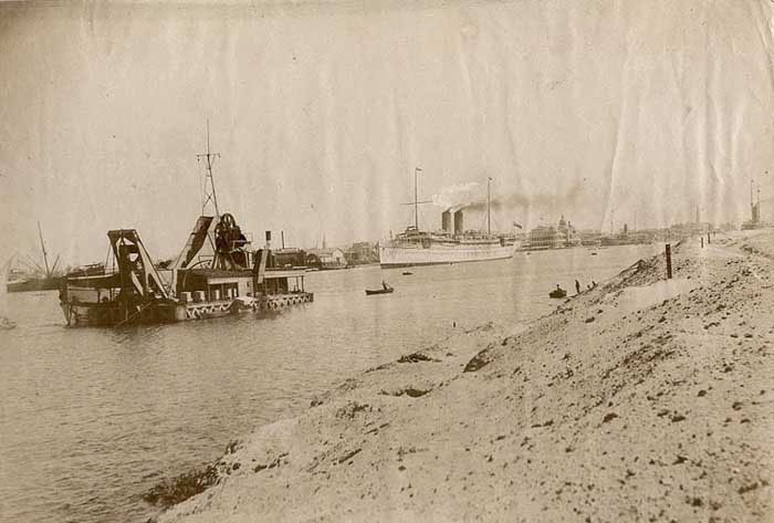 Suez Canal with a dredger, photographed by Perides 1880s