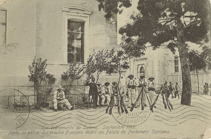 A guard of French marines stationed by the Samos municipal house in 1912 - image courtesy of Marie Anne Marandet