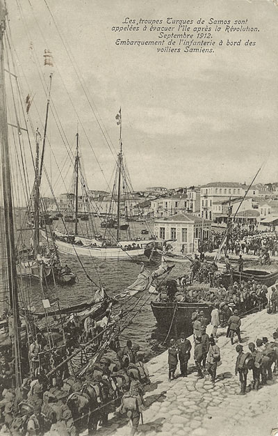 the evacuation of Samos by Turkish troops in 1912 - image courtesy of Marie Anne Marandet