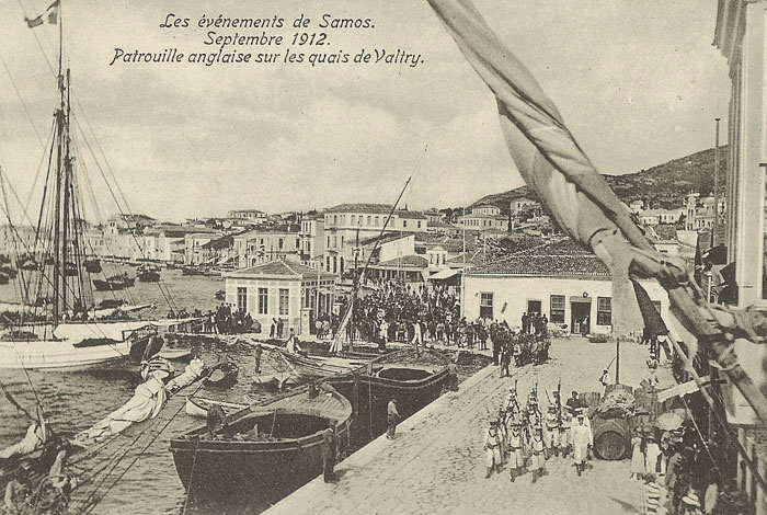 British troops patrol the harbour-front of Samos town in 1912 - image courtesy of Marie Anne Marandet