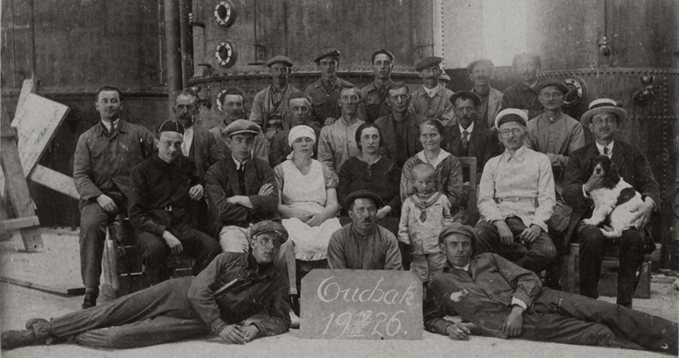 Group of Czech workers with their families in the recently established second sugar factory in the Anatolian town of Uşak, a year after the start of the construction in 1925. These workers mostly from Prague presumably were knowledgeable in the set up and processing of this commodity and presumably did not stay long after the completion of the construction, which started operations 17 December 1926