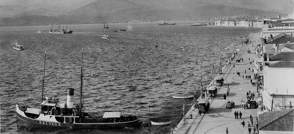 The Izmir, Alsancak shorefront 1919-22 Greek occupation period. The tug in the foreground is the Alexandros Z, owned by Zalokostas shipping of Greece.