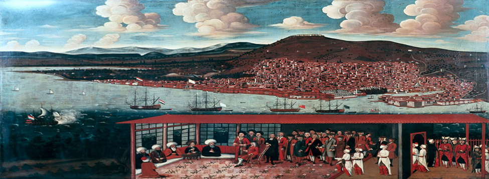 A painting of Smyrna bay and Dutch merchants negotiating with the local <em>kad&#305;</em> done by Cornelis de Bruijn (1652 – 1726/7), a Dutch Dutch artist and traveler who briefly stayed amongst Dutch merchants of Smyrna c.1683. St Peter's Castle is the black building at 2 o'clock above the vessel with the blue flag. From this painting it is evident that the creek in front of the castle had been filled in, therefore the reason <em>Saman &#304;skelesi</em> etc. are now so far inland. <br /> This picture also offers a challenge to budding or actual archaeologists to investigate the location of the city walls shown on the right hand side, and perhaps the elusive St Polycarp's tomb (the building below the castle, flanked with 2 little white towers ?). <br /> The locations of European factories are marked by the flags of Holland, France (the white Fleur de Lys?), Britain (Union flag, above the merchant navy 'Red Duster'), then a red flag which is possibly Venice. The vessel with the blue flag: 1st from the right would be a blue fleur-de-lys used by the French navy, or the French Merchant Flag? <br /> Finally, notice the 21 gun salute of the arrival Dutch ship; bottom of the picture left. Analysis courtesy of George Galdies.