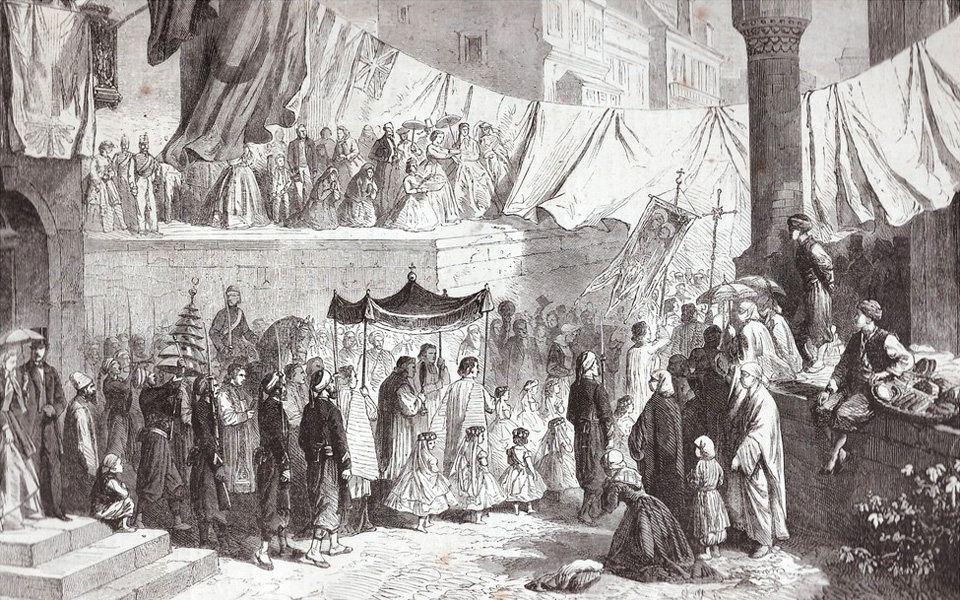 An engraving from 1865 published in the 'Monde l'illustré' of a Catholic street procession on the occassion of the Feast of Corpus Christi in Constantinople. There might be some creative license in this illustration and the location of this church is still under investigation.