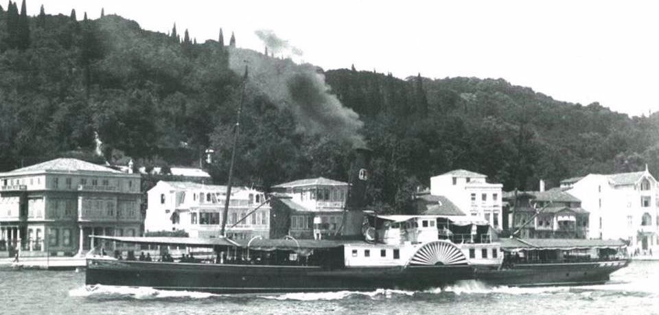A turn of the century period paddle steamer running along the Bosphorus, around Büyükdere, Istanbul